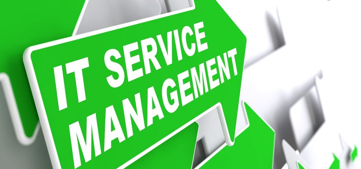 "Service Management - IT Concept. Green Arrow with ""IT Service  Management"" Slogan on a Grey Background. 3D Render."